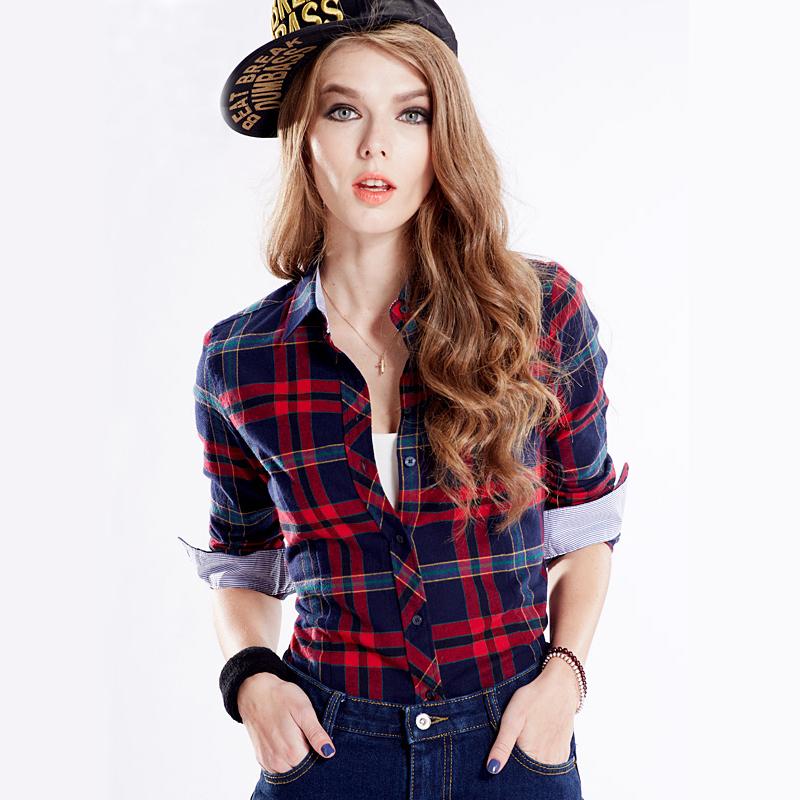 2015 Spring Women's Plaid Shirt Blusas Blouses Women Females Fashion 100% Cotton Brushed Casual Shirts Blouses Blusas Clothing(China (Mainland))