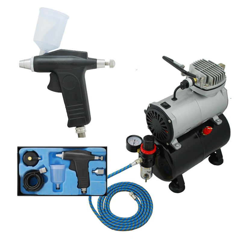 High Quality Economy Airbrushing ABK-115-T Air Compressor Kit  Body Paint  Temporary Tattoos