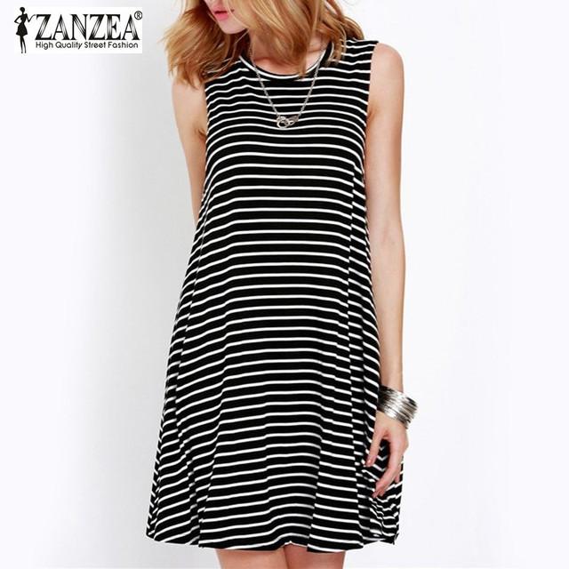 2016 ZANZEA женщины летнее платье свободного покроя широкий дамы старинные полосатый рукавов о шея короткая пляж мини-платье Vestidos Большой размер