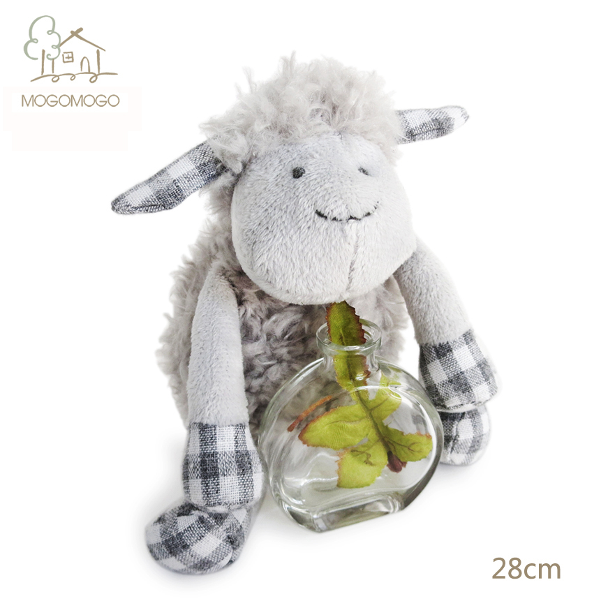 28cm hand-made cute grey sheep plush toys mainly for famous brand,stuffed animals, doll/toy 100% linen plush toys(China (Mainland))