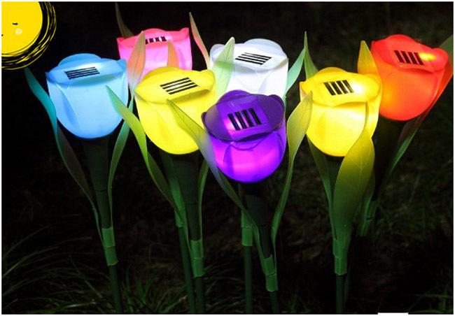 1 Outdoor Garden Light Solar Tulip flower light Powered LED Lawn Lamps Flower Lamp HT8940 Free drop shipping - AlihPark store