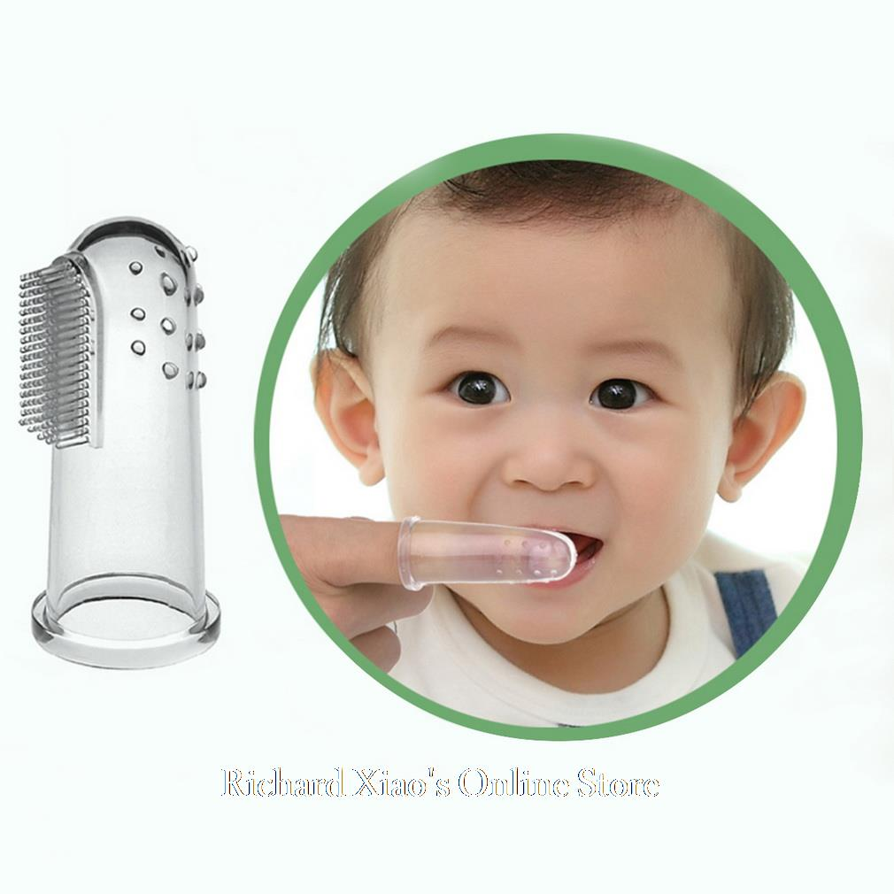 Free Shipping 1 Pcs Soft Silicone Safe Baby Kids Finger Toothbrush Gum Brush For Clear Massage(China (Mainland))