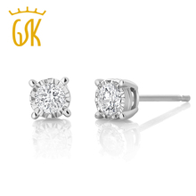 GemStoneKing 0.20 ctw Miracle Set Round Natural Diamond Stud Earrings 10K White Gold Wedding Engagement Earrings For Women(China (Mainland))