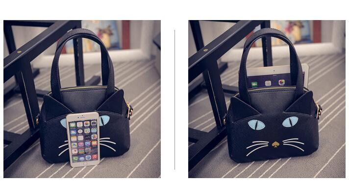 Fashion Hot Korean Cute 3D Cat Bag with Ears New Women Handbag Cartoon Shoulder Bag Japan Harajuku Hand Bags