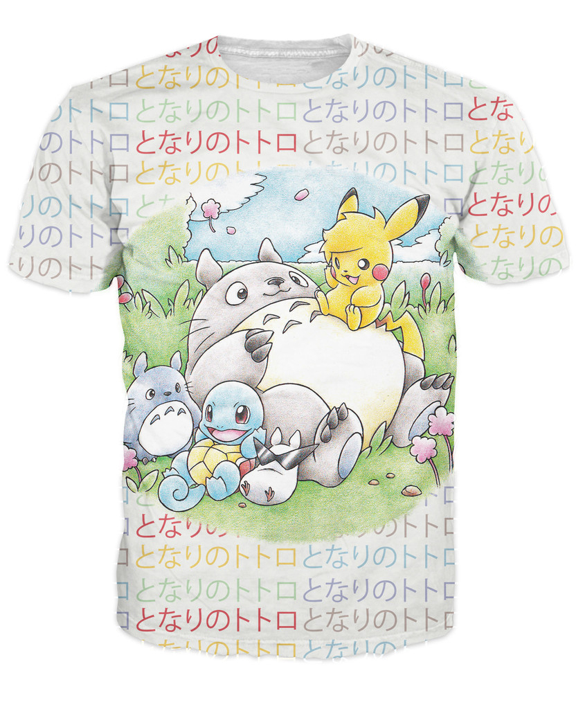 New Summer 3D Totoro and Friends Cartoon T-Shirt Studio Ghibli Shirt tees Fashion Sexy japanese character tee for women men(China (Mainland))
