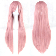 80cm Cosplay Wigs 20 Color Long Straight heat resistant Cos Wigs with bangs style synthetic hair wig anime Party 2106 New