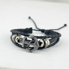 2015 New Hot Multilayer Leather Fashion Male Vintage Accessories Anchor Bracelet Men Jewelry Free Shipping()
