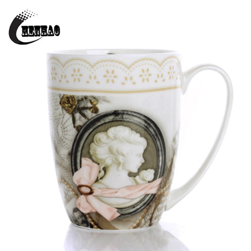 High Quality Ceramic Mugs 380ml Bone China Vintage Coffee Cups Free Shipping(China (Mainland))