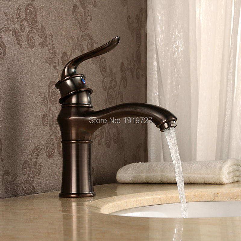 Newly Solid Brass Deck Mounted Bathroom Sink Vessel Faucet Oil Rubbed Bronze Mixer Tap Single Handle Single Hole(China (Mainland))