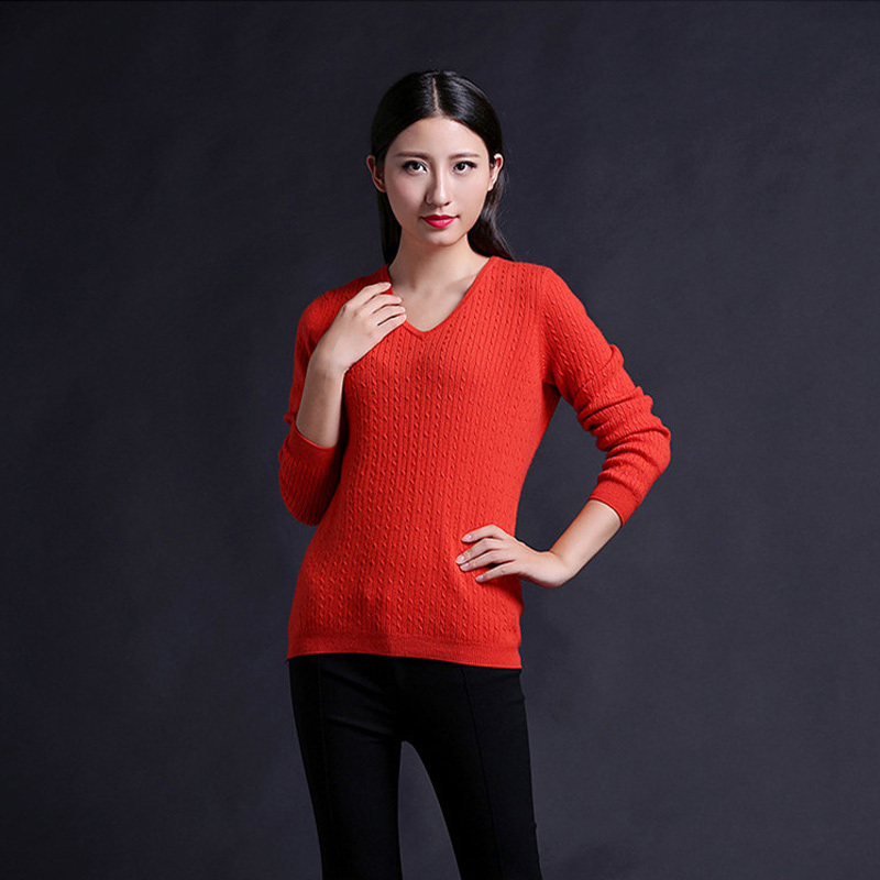 2014 Autumn And Winter Women's Pure Cashmere Sweater Women's V-neck Knitting Cashmere Sweater