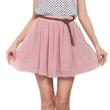New 2016 Summer Skirts Women Solid Pleated elastic Belt Miniskirt Chiffon Lace European and American Style