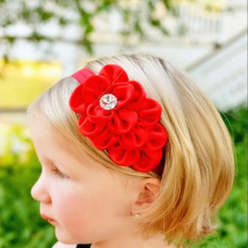 1Pc New Style Rhinestone Headband Hairband Baby Girls Flowers Headbands Kids Hair Accessories Baby Christmas Gift(China (Mainland))