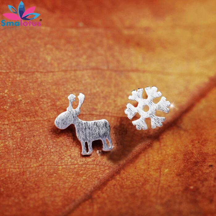 2015 New arrival Free shipping Fashion Christmas Gift Reindeer Snow Flower 925 Sterling Silver Stud Earrings Jewelry Accessories(China (Mainland))