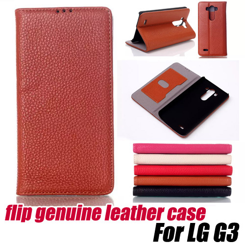 10pcs/lot.luxury FLIP 100% genuine leather wallet Case cover stand for LG G3, free shipping