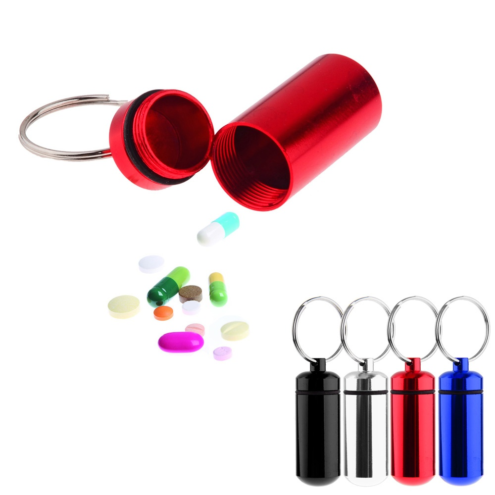 10 Pcs/ Set Small Medicine Pill Case Tablets Holder First Aid Container with Key Ring Random Color(China (Mainland))