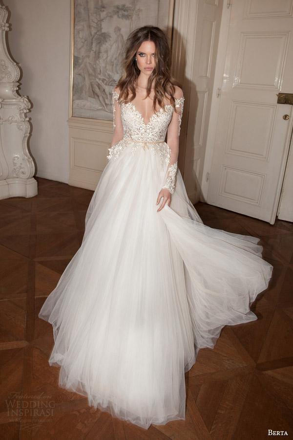 2015 gorgeous sheer long sleeve wedding dresses a line for Long sleeve v neck wedding dress