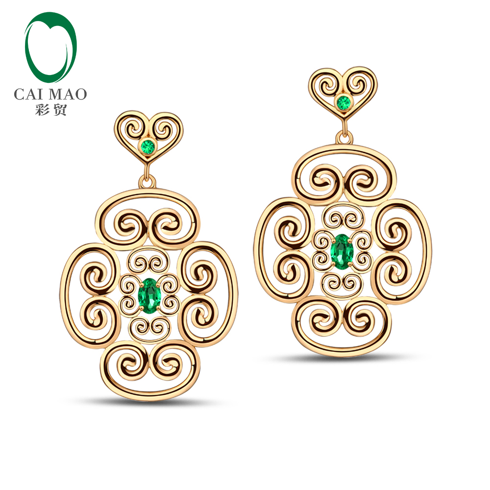 Caimao Jewelry Unplated 14K Yellow Gold 0.55ct Natural Emerald Classic Engagement Drop Earrings<br><br>Aliexpress