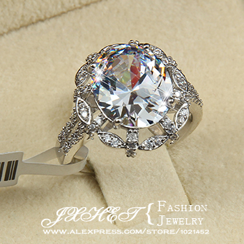High quality White Gold plated 5 ct Egg shape Swiss Cubic Zirconia Noble Flower Wedding Rings(JXHET-J015)(China (Mainland))