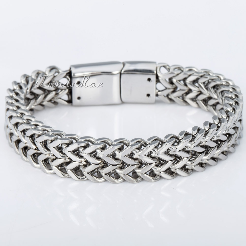 Fashion 11mm Silver Tone Double Foxtail Box Link Mens Chain Boys 316L Stainless Steel Bracelet Magnetic