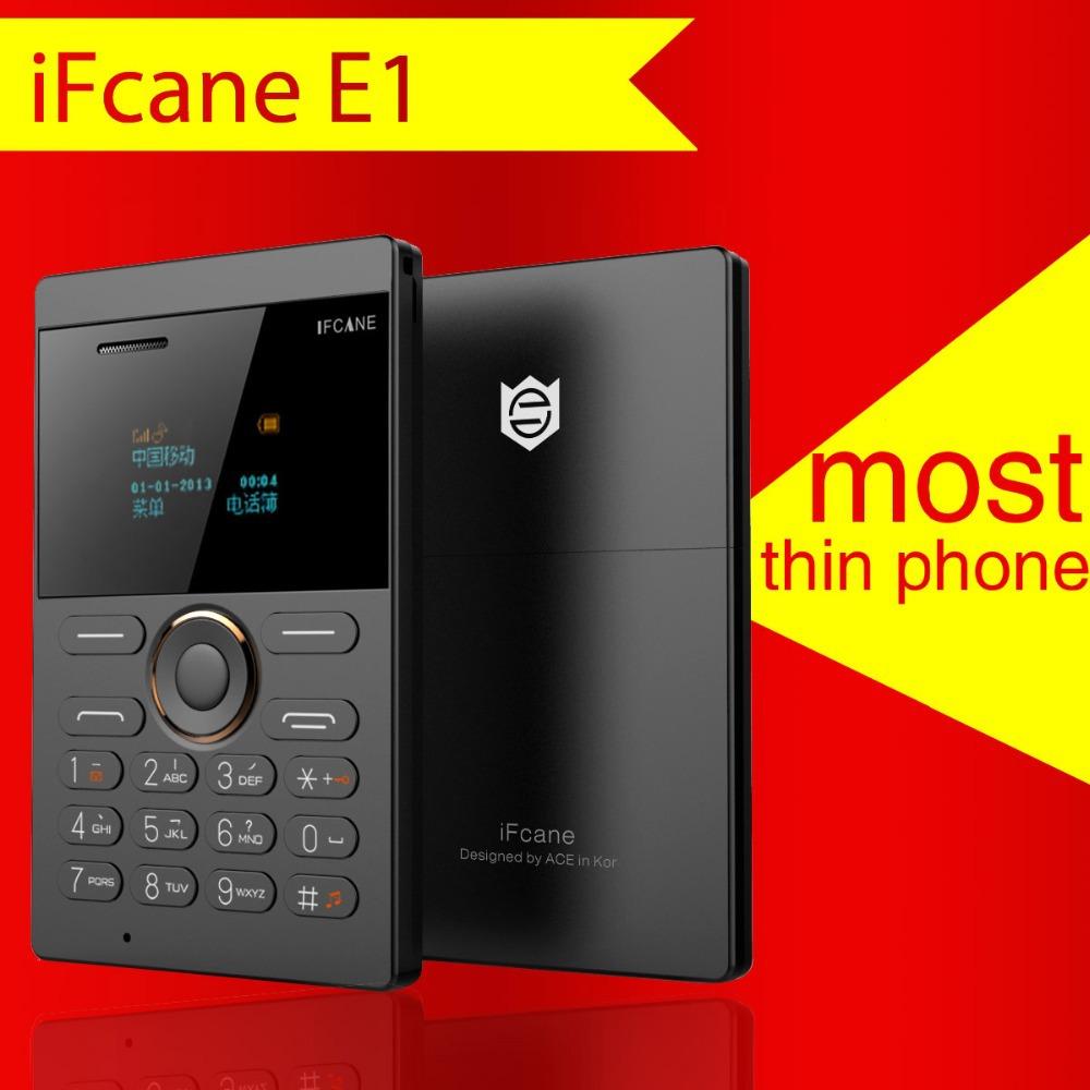 2015 New and Super Shock! IFcane E1 mini Cell Phone Student Version ultra thin mini credit card Mobile phone FM Radio Bluetooth(China (Mainland))