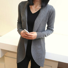 Free shipping 2015 fashion Knit Top Sweaters loose  medium-long sweater vintage cardigan outerwear(China (Mainland))