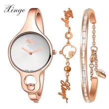 Women Watches Xinge Luxury Dress Bracelet Watch Crystal Rhinestone Casual Quartz Wristwatch Clock Fashion Women Montre Watch