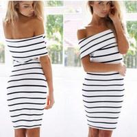 Summer Slash Neck Women Bodycon Dress Knee Length Striped Printed Pencil Dress For Women Casual Dress Women Clothing