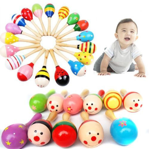Random Color!! 1 PCS Wooden Maraca Wood Rattles Kids Musical Party favor Child Baby shaker Toy(China (Mainland))