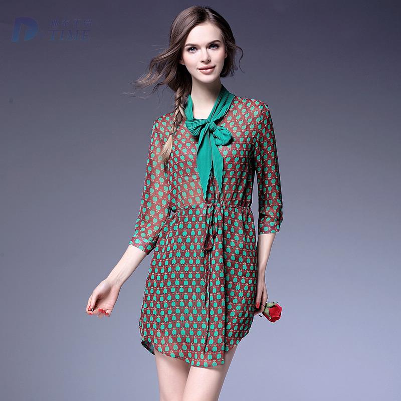 S-XL size 2016 high quality elegant women bow collar print cute dress fashion design women stretch waist spring pattern dress Одежда и ак�е��уары<br><br><br>Aliexpress