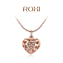 1PCS Free Shipping! White/Rose Gold Plated Austrian Crystal Hollow Heart Pendant Fashion Necklace Jewelry