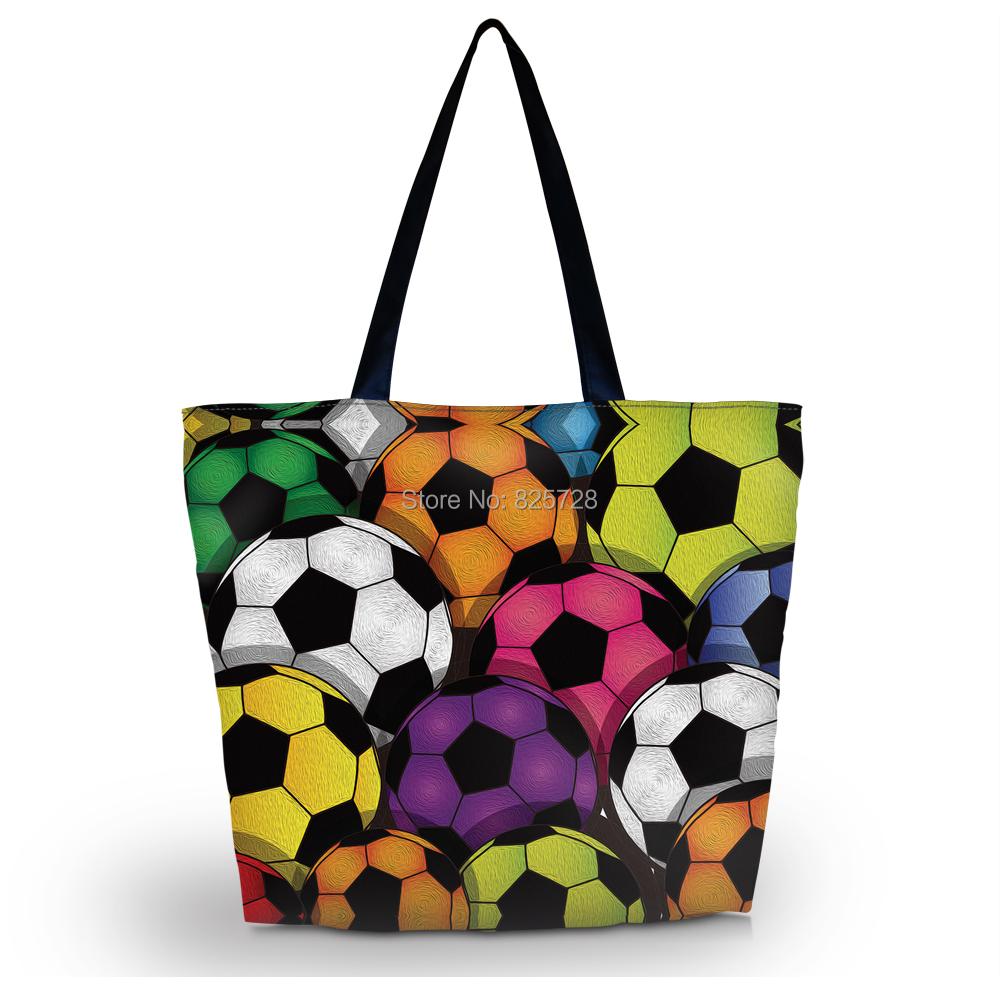 Colorful Football Ladies Womens Soft Foldable Zip Shoulder Shopping Tote School Sport Bag Handbag Beach Bag Free Shipping(China (Mainland))