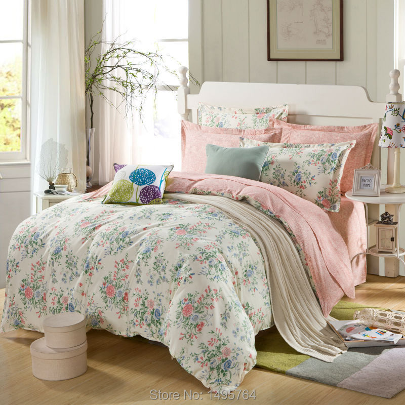 100 Cotton Pink Rose And Mint Green Bedding Set With