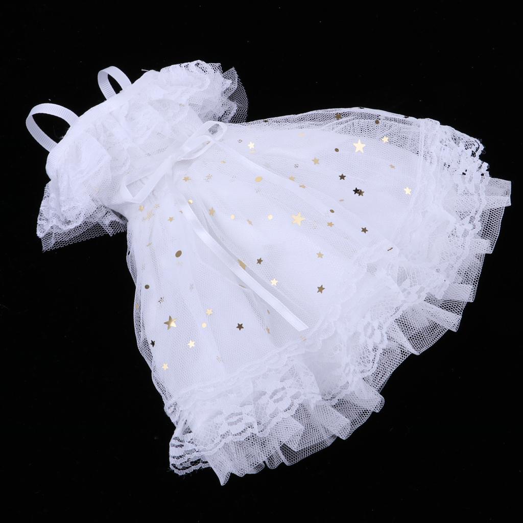 1//4 BJD Dress Off Shoulder Lace Mesh Princess Dress White Fits for Night Lolita