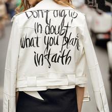 Harajuku Graffiti Letter print PU Faux Leather Jacket Women Bandageg Hem Zipper Short White Coat Outerwear Tops(China (Mainland))