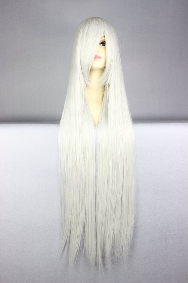 MCOSER Cosplay Wig New COS Silvery White Wigs Long Straight Hair Wig Long Hair wigs(China (Mainland))