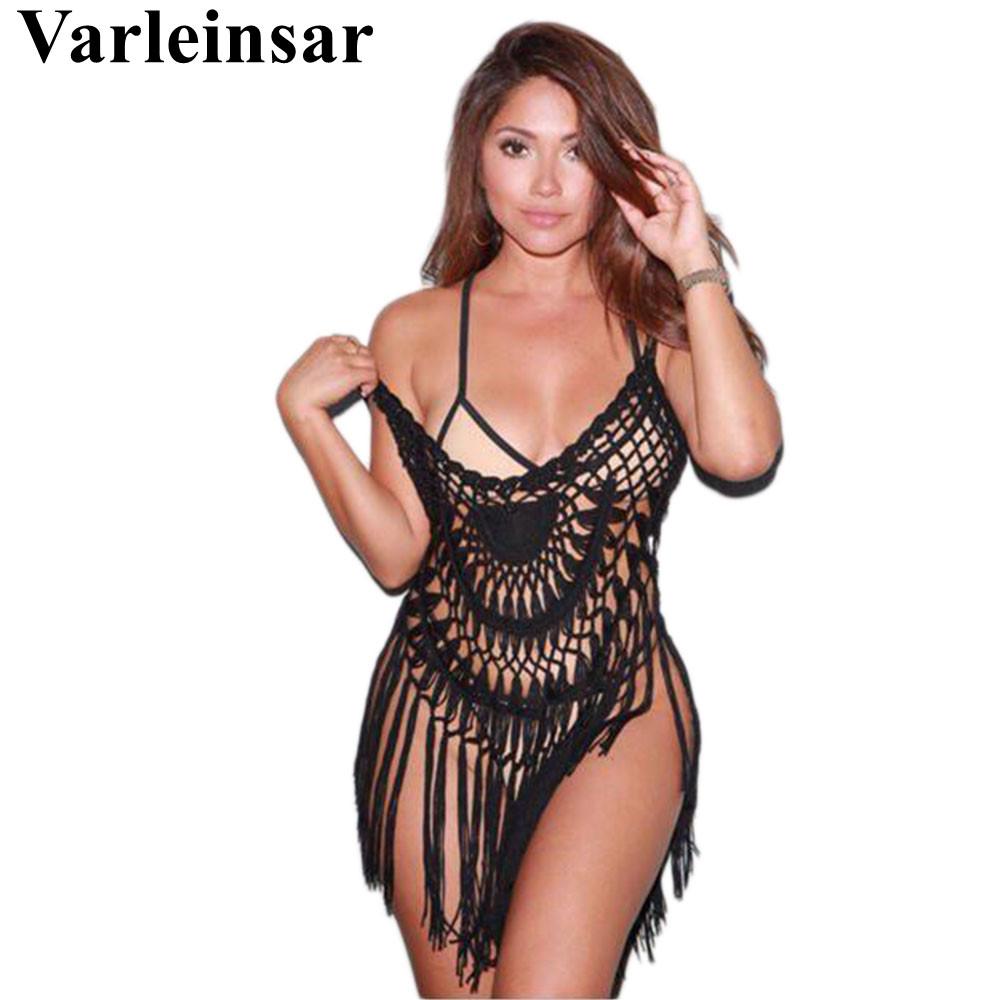 Sexy women hollow out beach cover up crochet bikini cover ups tassel cover-ups bathing suit swimwear dress swimsuit vestido V363