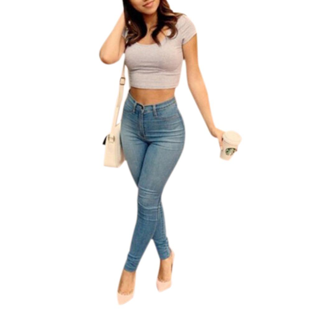Fashion New Sexy Women Denim Skinny Pants High Waist Stretch Jeans Pencil Trousers Skinny Slim Fit Vaqueros Female Femme 01C0207