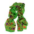 New Women Silk Scarf 69 175cm Shawl Occident Style Green Geometric Patten 100 Silk Occident Hot