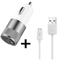 Dual USB Car Charger Micro USB Charging Data Cable For Samsung HTC LG Sony Huawei Xiaomi