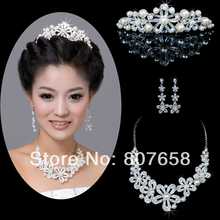 Pearl Crystal Necklace Earrings Bridal Accessories Piece Set With Shiny Crown Hair Ornaments For Wedding Jewellry(China (Mainland))