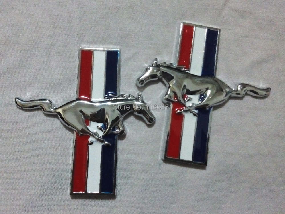 Pair Running Horse Fender Badge Decal Emblem Sticker For Mustang(China (Mainland))