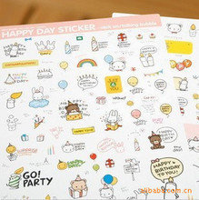 2 sheets/set Kawaii PONYBROWN Korean Cute Bear Diary Stickers For Mobile Phone Notebook Stationery Decoration Sticker(China (Mainland))