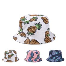 Free Shipping 2015 New Fashion Lovely Summer White Pineapple Printed Bucket Hats Outdoor Pineapple Fishing Sun Caps Women Girls(China (Mainland))
