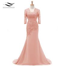 Três Quartos Mangas Champagne Sereia Laço Vestido de Noite Formal Com Jaqueta Mãe Do Vestido Da Noiva Para O Casamento Partido SL-M002(China)
