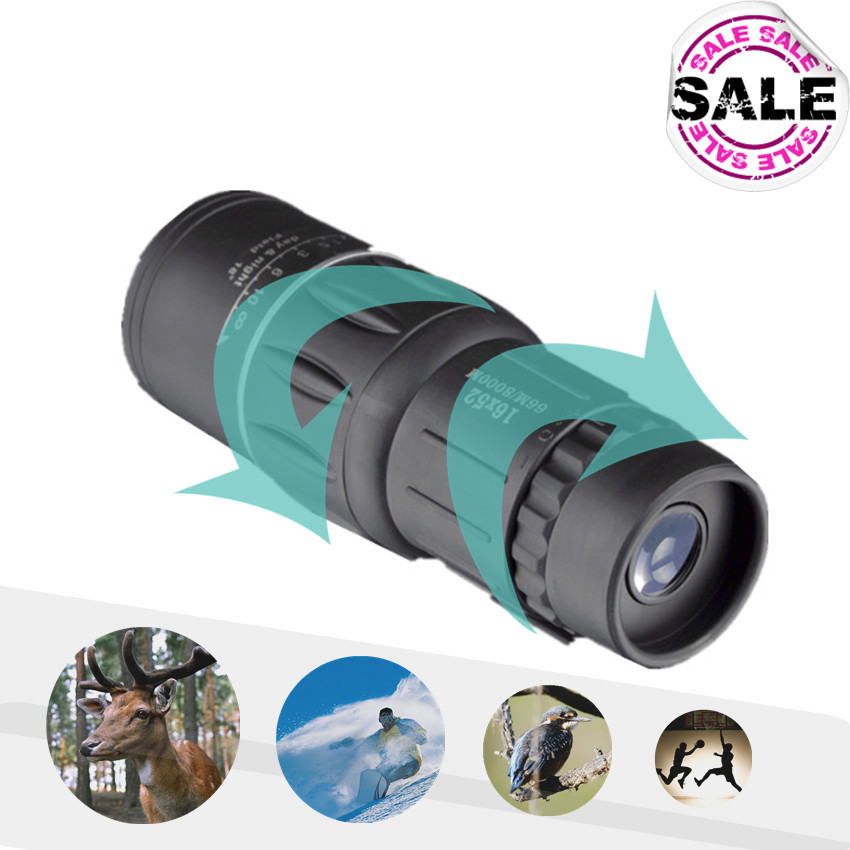 16X52 Telescopio Monocular Telescope Dual Focus Zoom 66/1000M Field Travel Pocket Mini Sport /Birding Hunting Telescoop(China (Mainland))