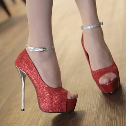 Shoes 2014 platform hasp open toe platform red sole shoes single high-heeled shoes(China (Mainland))