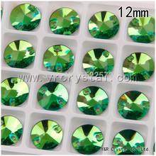 Rivoli перидот цвет 12 мм шить на кристалл стразы flatbacks драгоценный камень