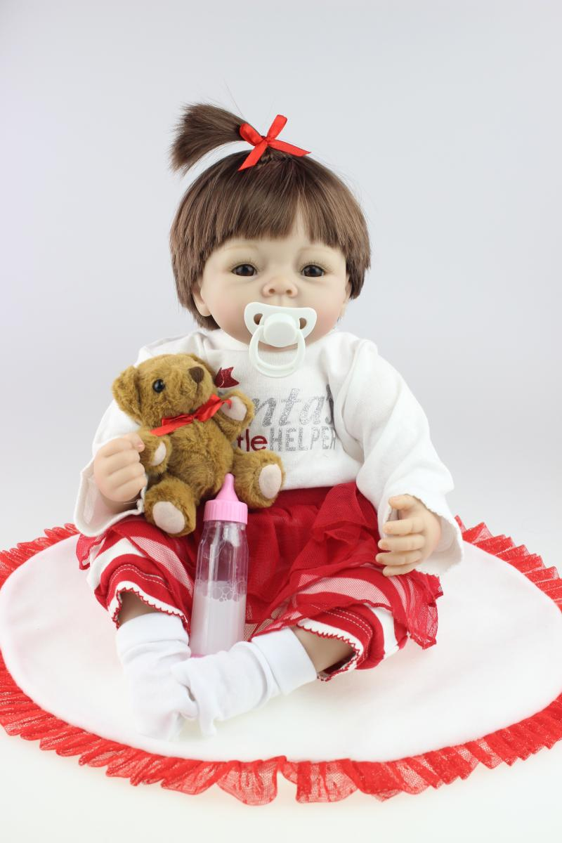 55cm vinyl reborn baby doll soft solid silicone vinyl hand-rooted mohair lifelike newborn dolls for girls<br><br>Aliexpress