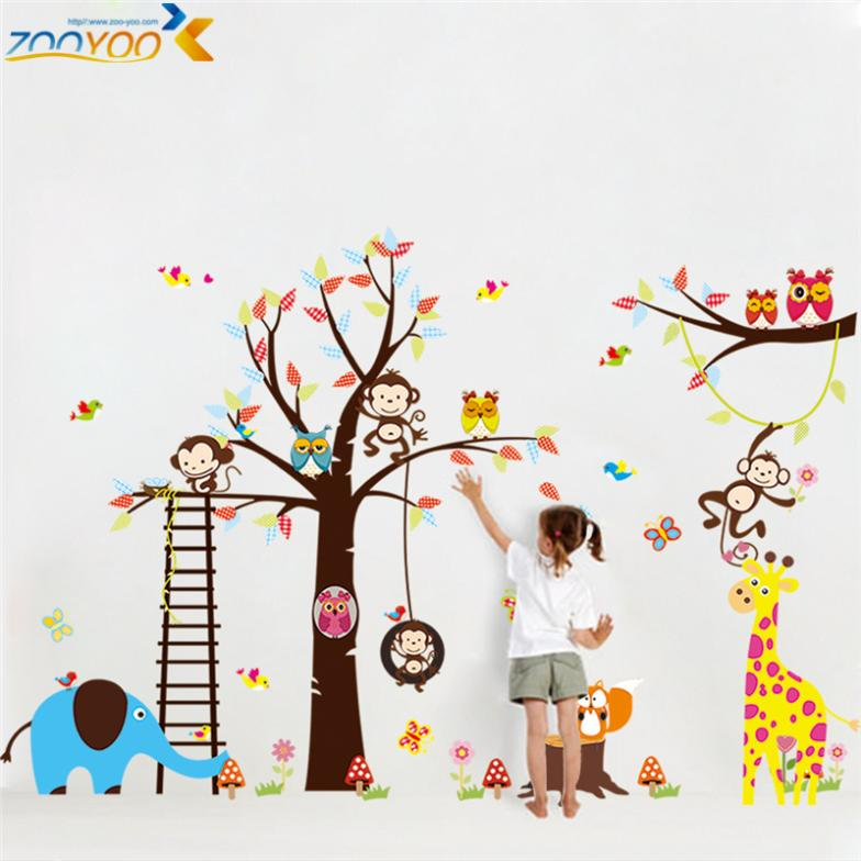 large size animal wall stickers for kids room decorations monkey owl zoo cartoon decals wall art diy children sticker zooyoo1213(China (Mainland))