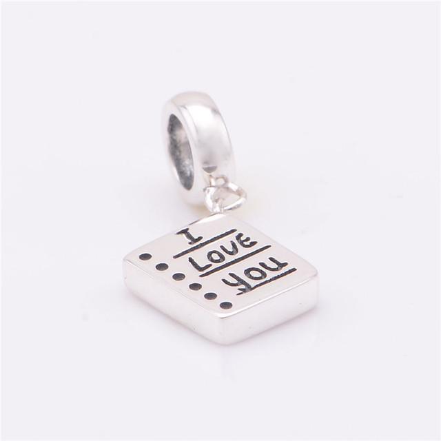 S925 стерлингового серебра Jewerly я люблю вас качает бусины DIY выводы ввбр женщины подходит пандора Chamilia подвески браслеты